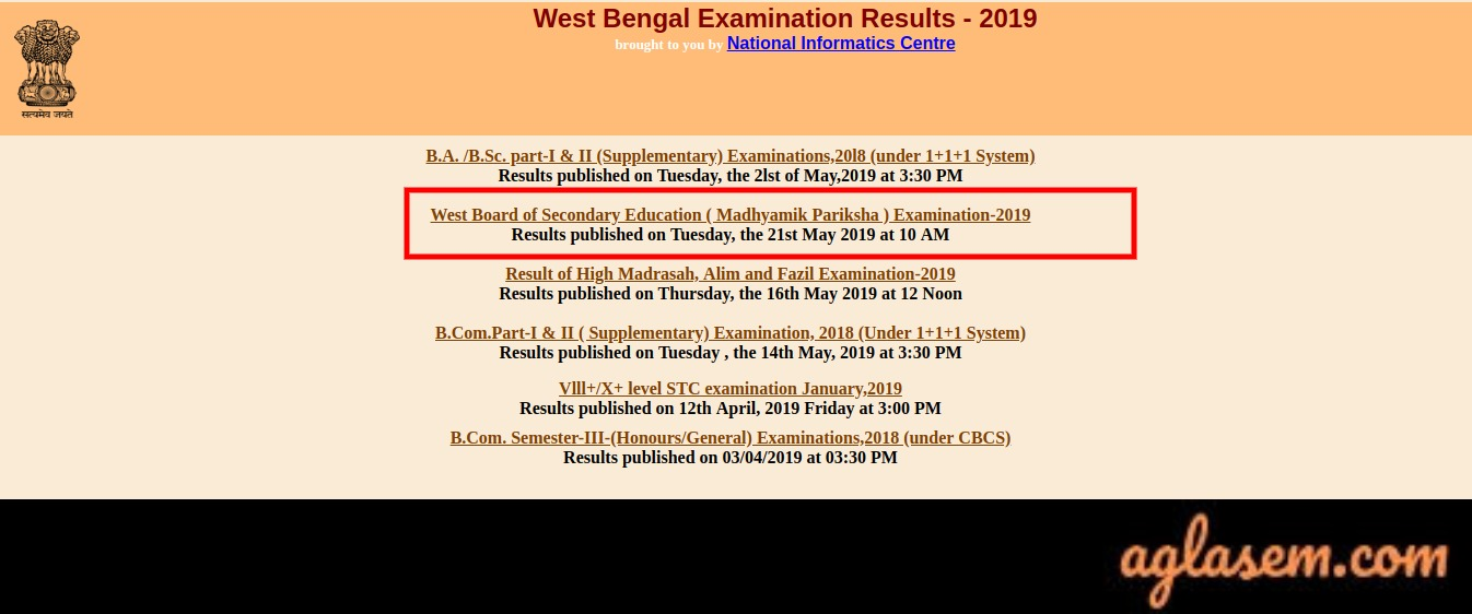 West Bengal Result 2019 | WB Result 2019 (wbresults nic in