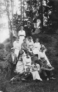 Group of fifteen people in the forest - RPPC, Sweden, ca 1910s