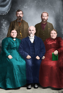 1890 (about) - Caroline Wise (1853-1922), Benjamin Wise (1846-1927), August Wise (1835-1926), Christian Wise (1840- ), Katherine Wise (1848-1941) [Siblings] Colorized