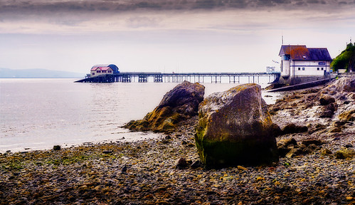 mumbles swansea bay sea coast building pier seascape sky clouds rocks beach pebbles landscape water minoltaemount