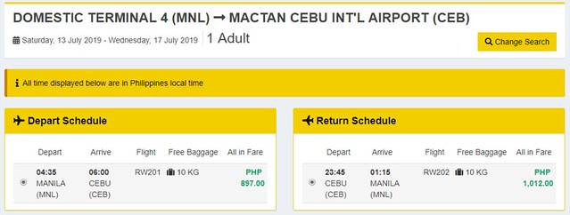 Royal Air Promo Manila to Cebu Roundtrip