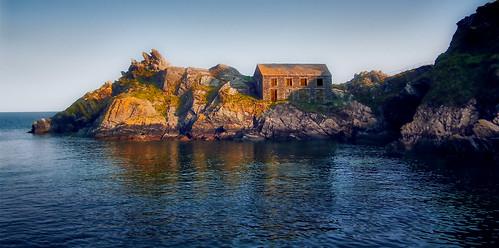 polperro cornwall sunset building house rocks sea bay water