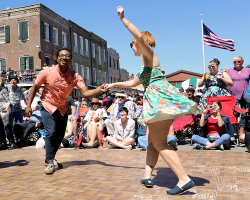 Fleur de Lindy dancers and lessons at the Traditional Jazz Stage at French Quarter Fest Day 4 - 4.14.19. Photo by Bill Sasser.