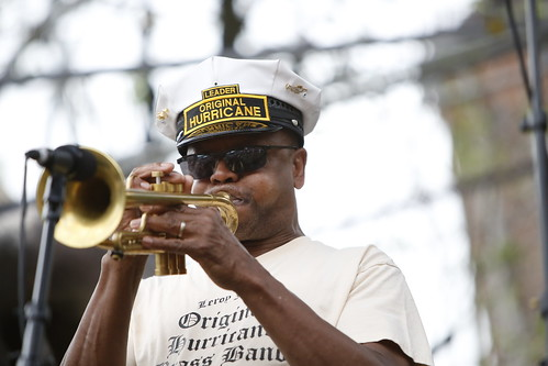 Leroy Jones with Original Hurricane Brass Band  at French Quarter Fest - 4.13.19. Photo by Michele Goldfarb.