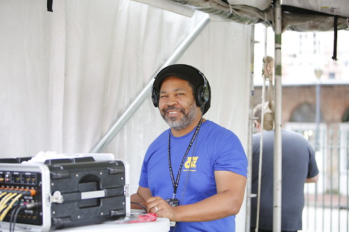 WWOZ engineer hard at work  at French Quarter Fest - 4.13.19. Photo by Michele Goldfarb.