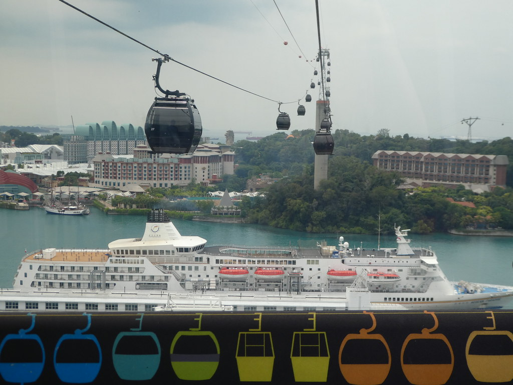 Approaching Sentosa Island on the Singapore Cable Car