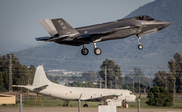 F35s from 4th Fighter Squadron on the first operational deployment of the F35