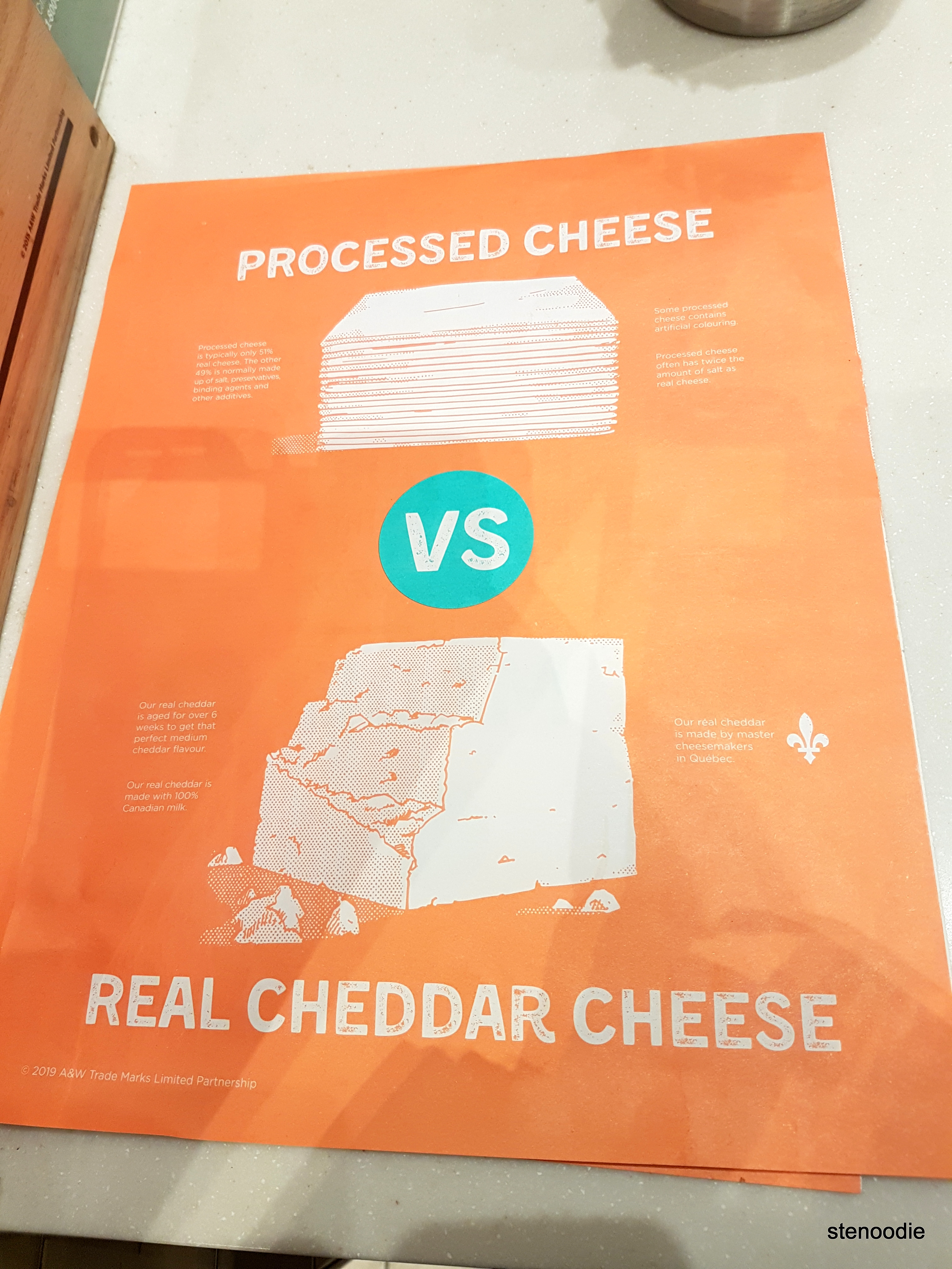 Infographic of processed cheese versus real cheese