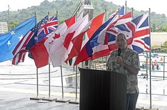 CHUUK, Federated States of Micronesia (April 13, 2019) The Honorable Robert Riley, U.S. Ambassador to the Federated States of Micronesia, speaks during the opening ceremony aboard the Military Sealift Command expeditionary fast transport ship USNS Brunswick (T-EPF 6) during Pacific Partnership 2019. Pacific Partnership, now in its 14th iteration, is the largest annual multinational humanitarian assistance and disaster relief preparedness mission conducted in the Indo-Pacific. Each year, the mission team works collectively with host and partner nations to enhance regional interoperability and disaster response capabilities, increase stability and security in the region, and foster new and enduring friendships in the Indo-Pacific. (U.S. Navy photo by Mass Communication Specialist 1st Class Tyrell K. Morris/Released)
