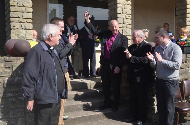 The ribbon-cutting at the opening of the Mustard Sees with (left to right) Fr William Peoples, Archdeacon David Huss, Bishop Ken Good, Fr Francis McLoone and the Rev Stephen Richmond.