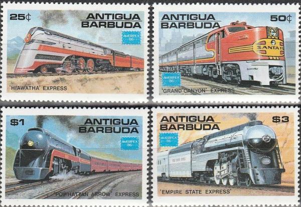 Známky Antigua 1986 Lokomotívy MNH CV $8.00
