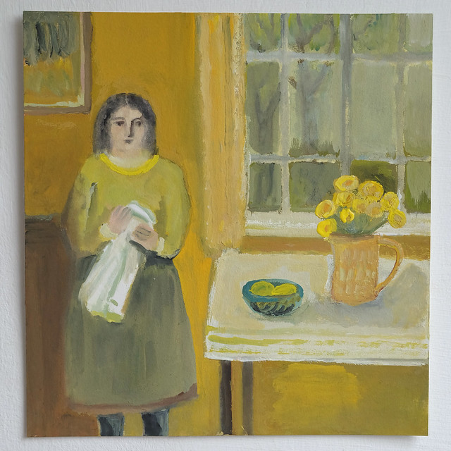 girl in a yellow room