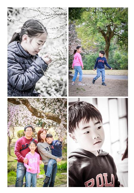 森林公園(愛知県尾張旭市)でファミリーフォトのロケーション撮影 桜と雪柳