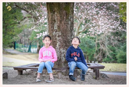 大きな木の下でベンチに座る兄弟の子ども
