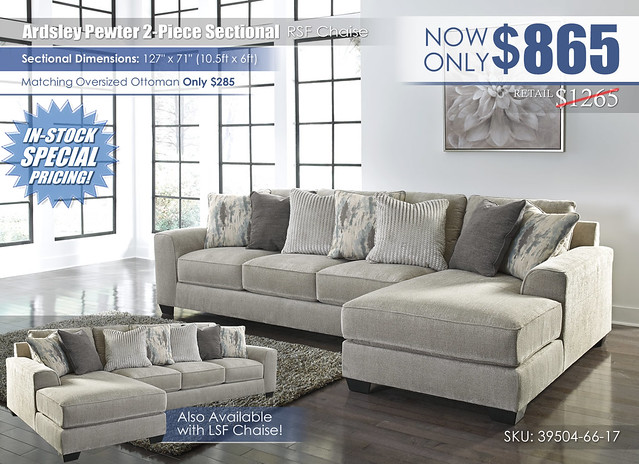 Ardsley Pewter 2 Piece RSF Chaise Sectional_39504-66-17