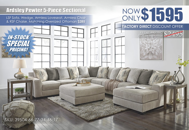 Ardsley Pewter 5-Piece Sectional_39504-66-77-46-34-17-08-T387