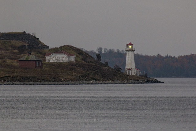 Georges Island Lighthouse in the harbour, Halifax, Nova Scotia