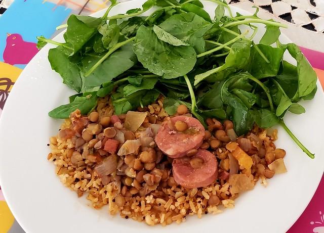 #170419 #almoço #lentilha, arroz e salada  #lunch #lentil, rice and salad