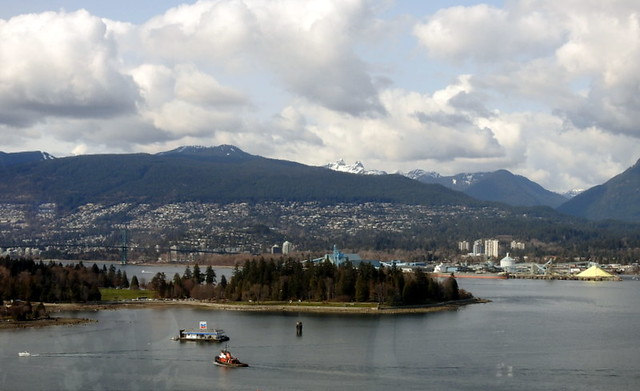COAL HARBOR AND STANLEY PARK,  LOOKING TO WEST VANCOUVER,  AS SEEN FROM VIEW FROM THE WATERFRONT HOTEL, VANCOUVER,  BC.