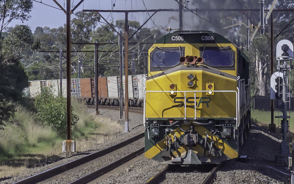 SSR Southern Shorthaul Railroad locomotive C506 leads C510 as 1845 SSR Containerised Freight from Port Botany to Kelso NSW