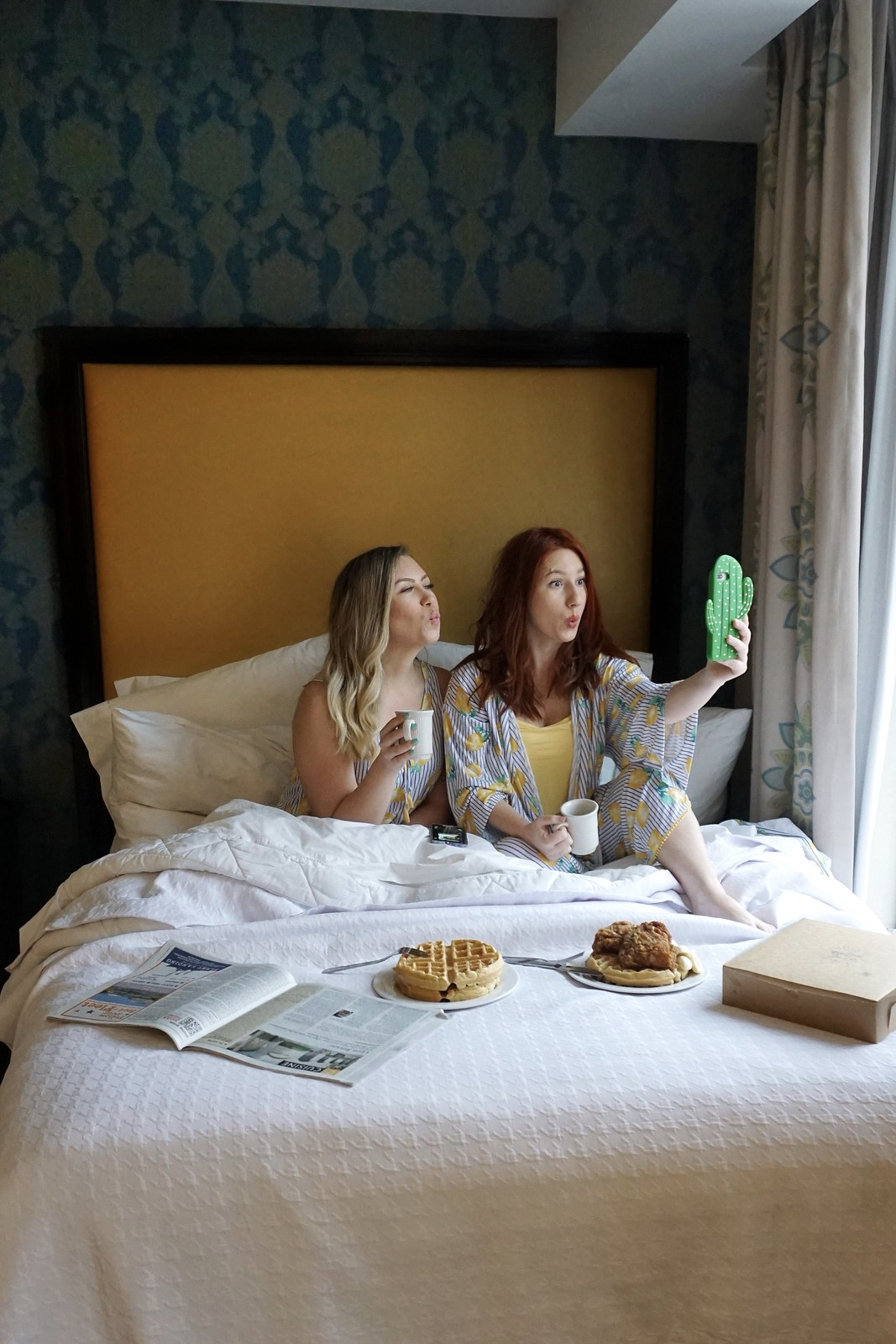 Soma Intimates Lemon Zest Pajamas | Girls Hotel Sleepover | Breakfast in Bed | 5 Reasons to Take a Girls Trip in your 30s | Traveling with Friends | Girls Only Sleepover | Girlfriend Getaways in the United States | Trip to take with your BFF
