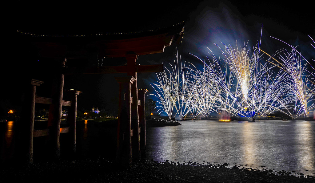 Dark torii gate Illuminations Epcot