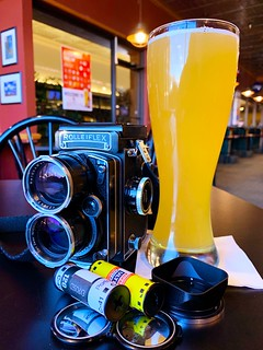 Two rolls shot, and two frames left on a third, and I deserve a beer. Today's selection is a local Summer Shandy. | by Greyscale3