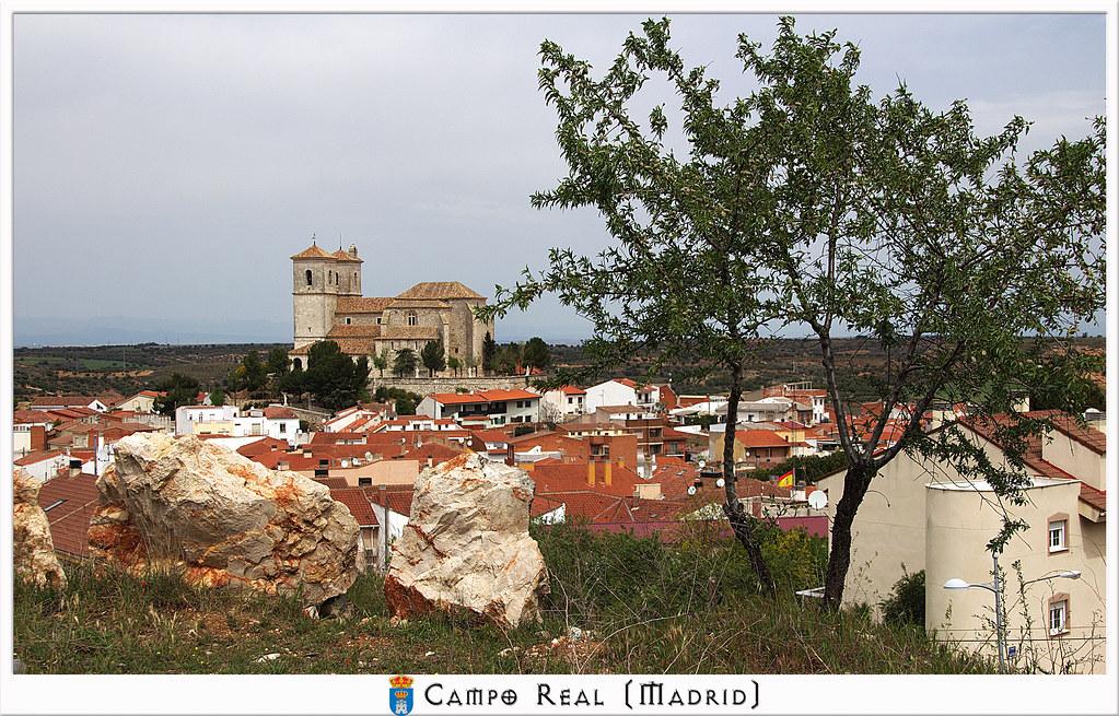 Almendro e iglesia de Campo Real de Madrid
