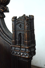 bench end: castle (15th Century)