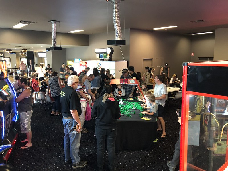 TLM2 prerelease Play Day at Bendigo Cinemas and static display case.