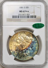 1881-S Morgan Toned NGC MS67 Plus Star CAC Toned Obv Holder