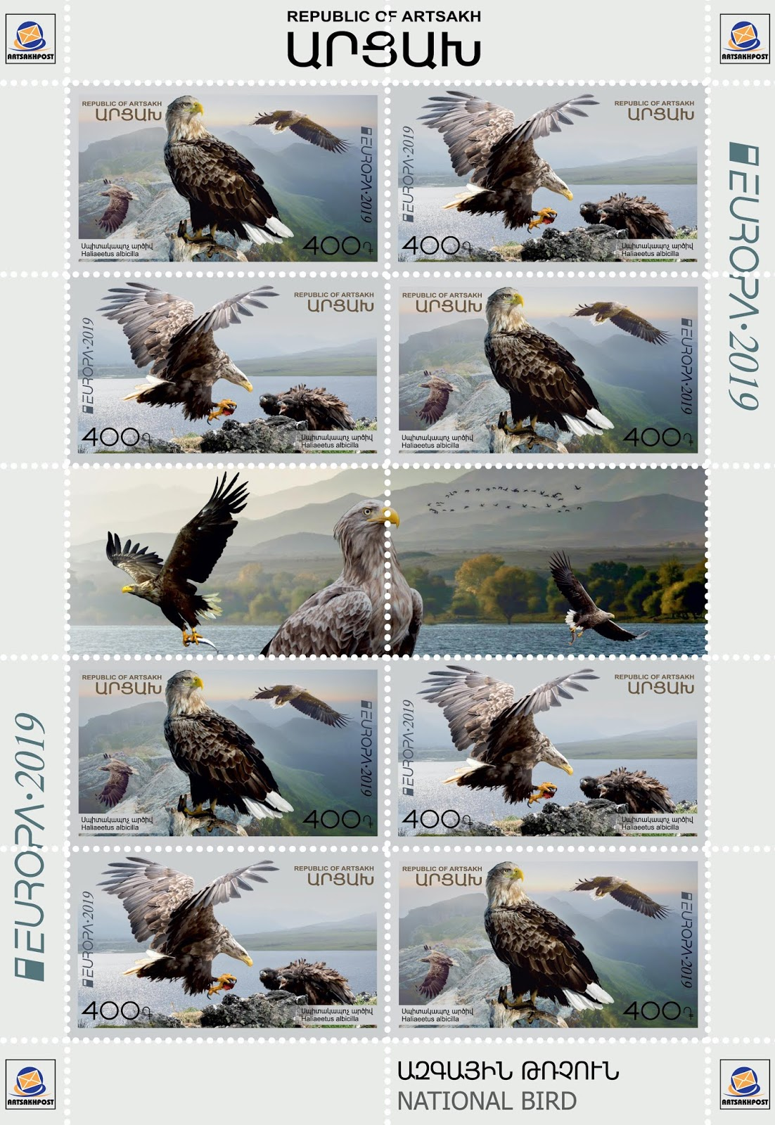 Artsakh - National Birds, Europa (March 22, 2019) sheet of 10, 2 designs