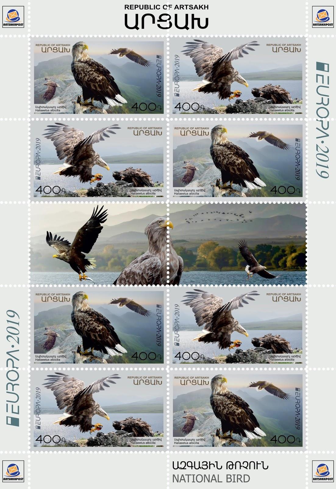 Artsakh - National Birds, Europa (March 22, 2019) sheet of 10, 2 designs