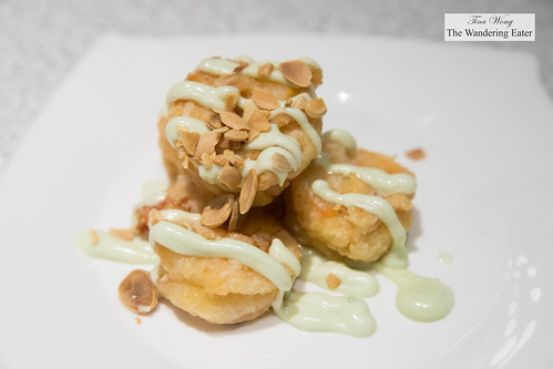 Deep fried prawns with wasabi sauce and almonds | by thewanderingeater