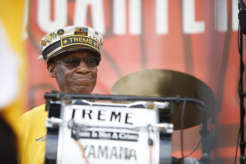 Benny Jones, Sr. of Treme Brass Band  at French Quarter Fest - 4.13.19. Photo by Michele Goldfarb.