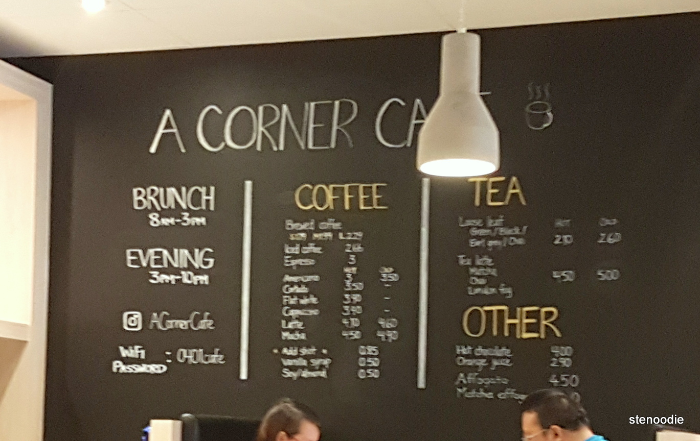 A Corner Cafe drinks menu and prices