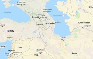 Georgia and Armenia share a southern and eastern border, respectively, with Turkey. Photo credit: Google Maps.
