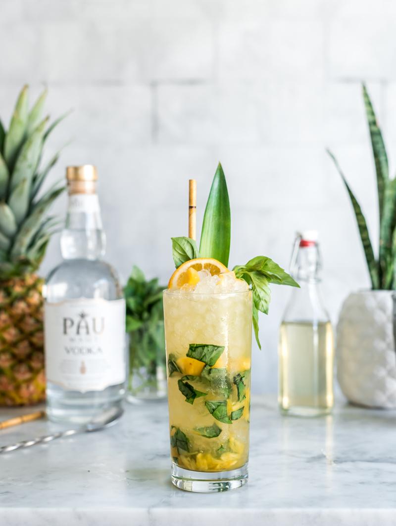 Earth Day Cocktail - Vodka Pineapple Basil Smash www.pineappleandcoconut.com