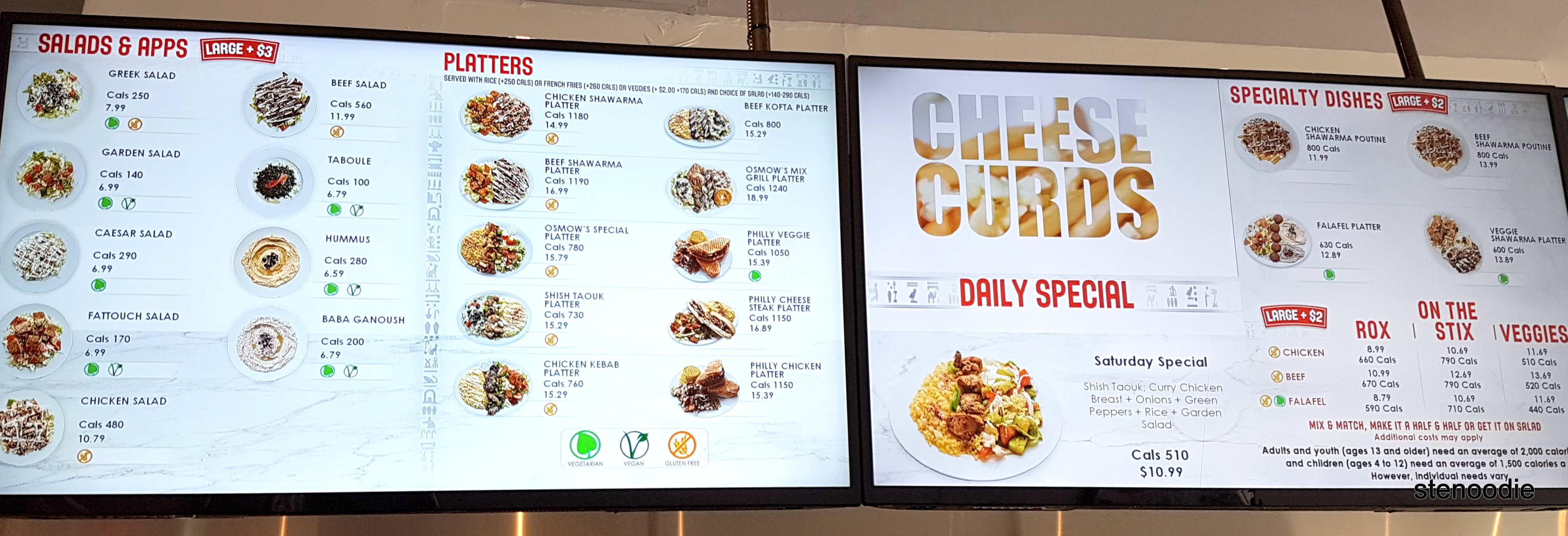 Osmow's Markham menu and prices