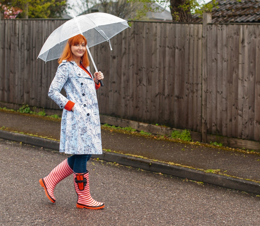 A Colourful Rainy Day Outfit With Wide Wellies - Spring Showers Outfit, Over 40 Fashion | Not Dressed As Lamb, over 40 fashion blog