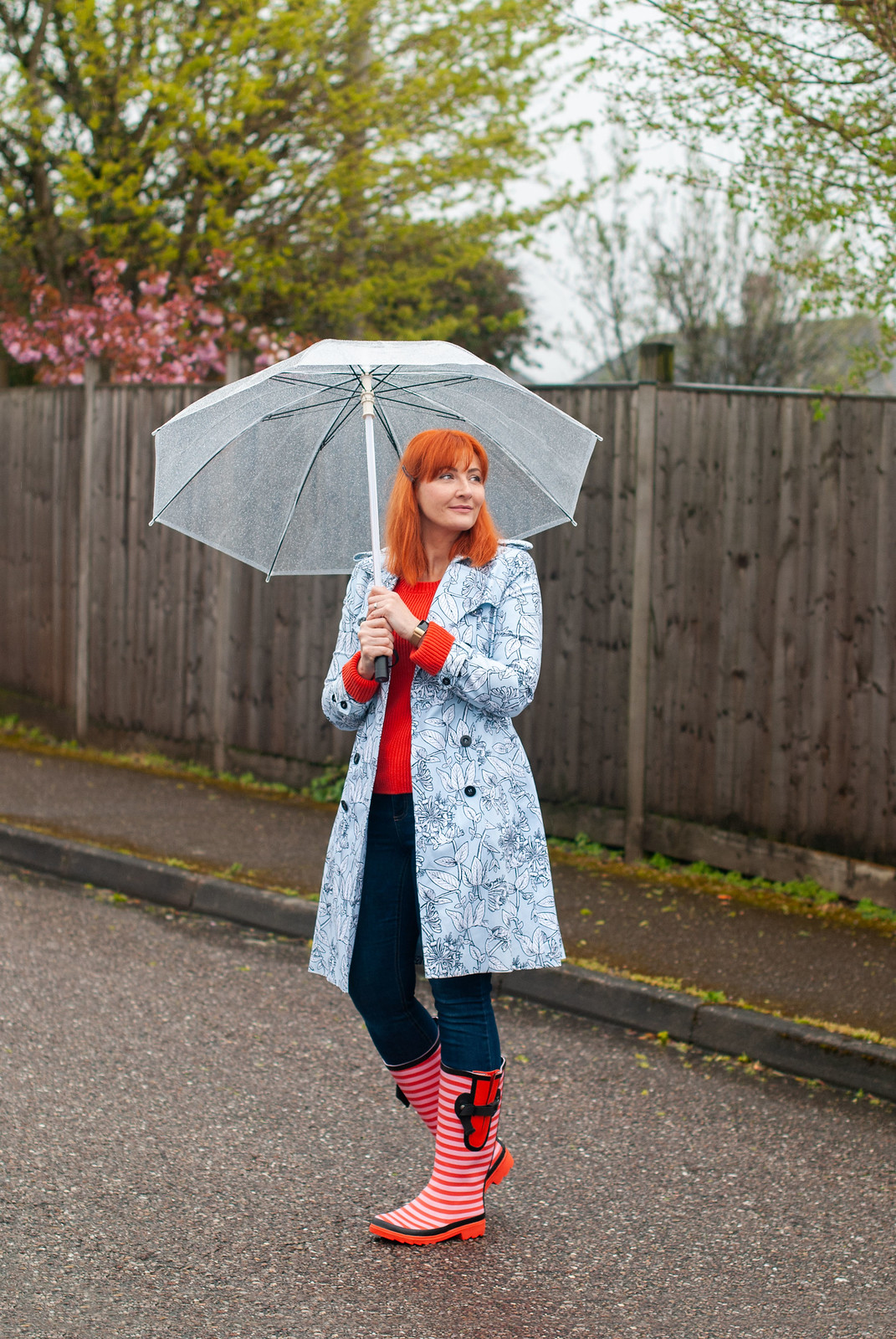 The Perfect Wellies for Wide Calves - Spring Showers Outfit, Over 40 Fashion | Not Dressed As Lamb, over 40 fashion blog