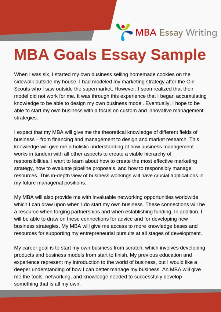 Goals essay mba sample executive summary for a business plan