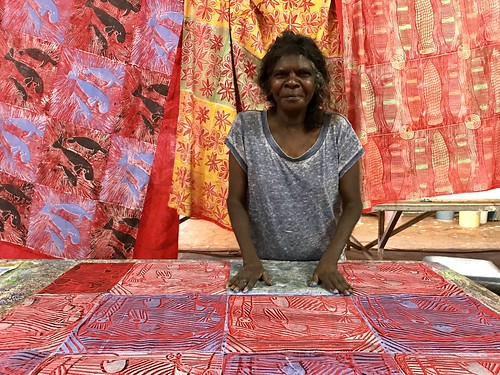 Featured artist Lucy Yarawanga of Bábbarra Women's Centre, Maningrida NT. Photograph by Ingrid Johanson.