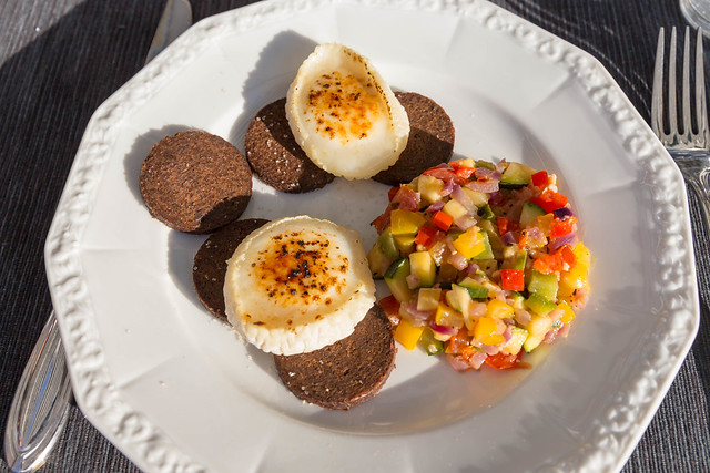 Top View of healthy fitness food - ratatui, pumpernickel wholemeal bread and flambéed cheese slices