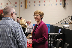 Rep. Zawistowski speaks with constituents during a regional forum on tolls legislation