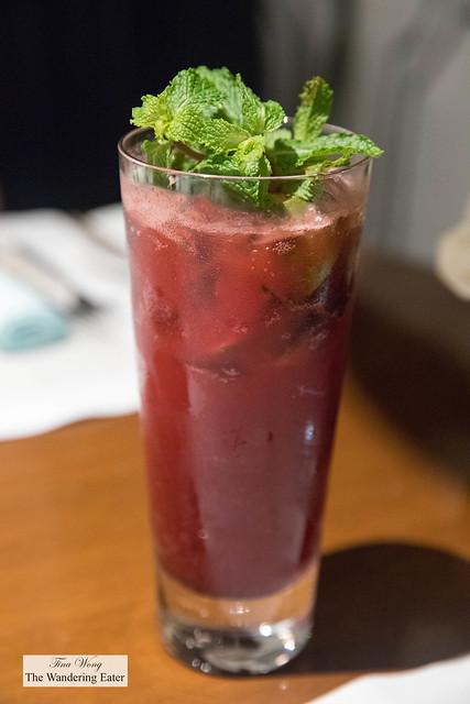 Black Forest non-alcoholic drink - Blackberries, raspberries, lime, mint, sod