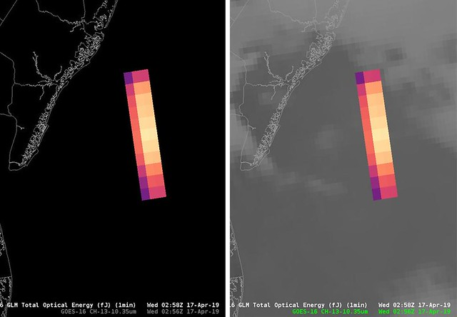 GOES-16 Detects East Coast Meteor