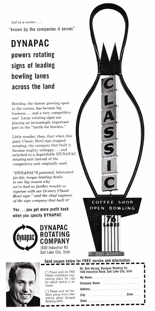Vintage Dynapac Ad Featuring Classic Bowl Sign - Salt Lake City, Utah - 1963