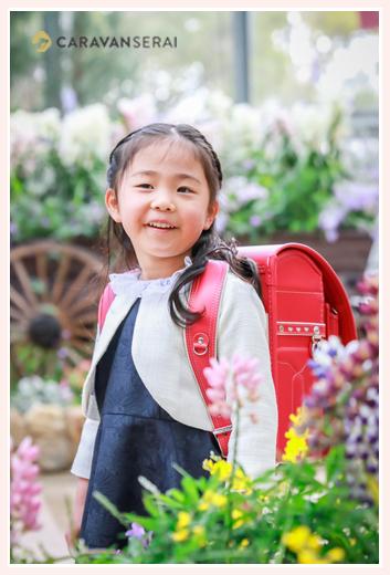 春日井市の植物園にて小学校入学記念写真の出張撮影