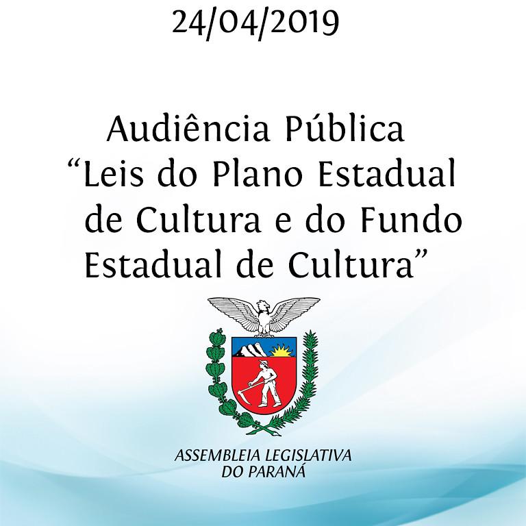 """Audiência Pública """"Leis do Plano Estadual de Cultura e do Fundo Estadual de Cultura"""""""